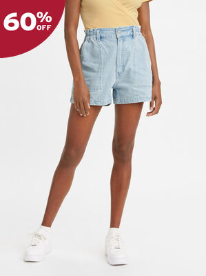 High Waisted A-Line Jean Shorts